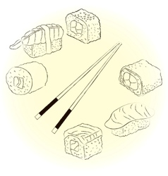 Sketchy sushi set vector