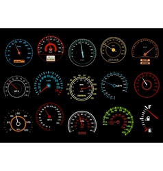 Car speedometers on black background vector
