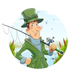 Fisherman with rod fishing vector