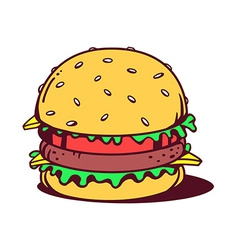 Big classic burger on white background vector