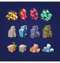 Set of cartoon stones and minerals vector