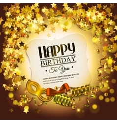 Birthday card with golden stars colorful curling vector