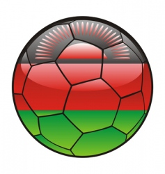 Malawi flag on soccer ball vector