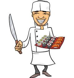 Japan sushi chef cartoon vector