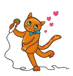 Cat sings a love song vector