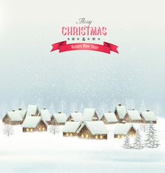 Holiday christmas background with a village vector
