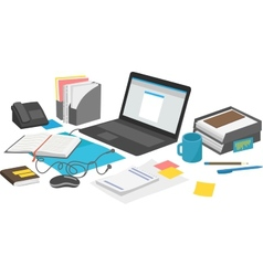 Work desk with laptop and paperwork notebook vector