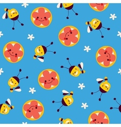 Honey bees and flowers seamless pattern vector