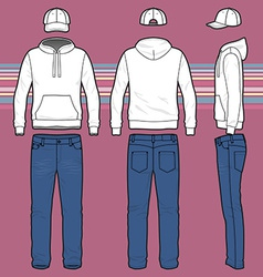 Hoodie cap and jeans set vector