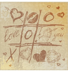 Hand drawn tic tac toe hearts vector