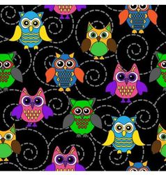 Seamless background with curls and cartoon owls vector