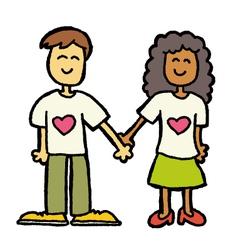 Interracial couple vector