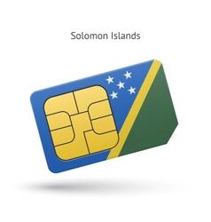 Solomon islands mobile phone sim card with flag vector