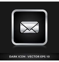 Message email sms icon silver metal vector
