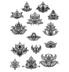 Large set of ornate vintage flower motifs vector