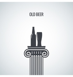 Beer bottle glass classic design background vector