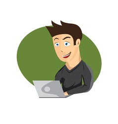 Cartoon of young man with laptop vector