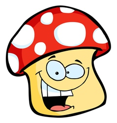 Smiling mushroom cartoon vector