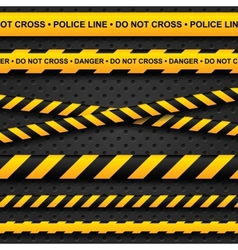 Police line and danger tapes on dark background vector