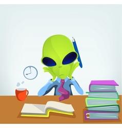 Cartoon office worker alien vector