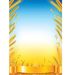 Wheat vertical frame vector