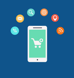 Mobile shopping icon vector