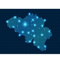 Pixel belgium map with spot lights vector