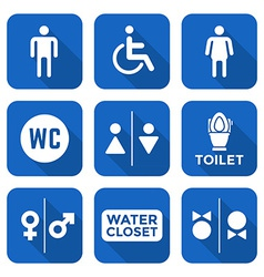 Various white color flat style water closet signs vector