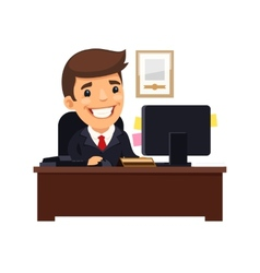 Boss sitting at his desk vector