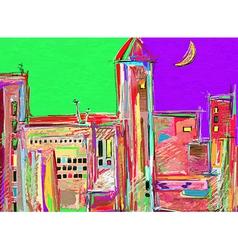 Original digital painting night cityscape vector