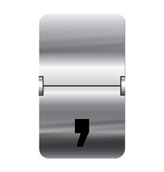 Alphabet silver flipboard letters comma vector