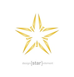 Abstract broken gold star on white background vector