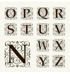Vintage set capital letters monograms and font vector