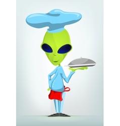 Cartoon french waiter alien vector