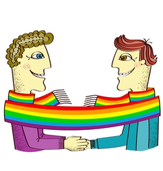 Gay couple with rainbow vector