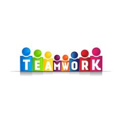 Teamwork concept word logo vector