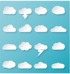 Shiny white cloud icons vector
