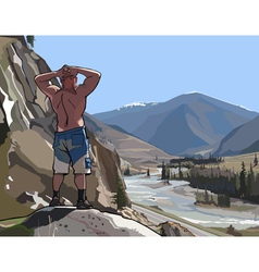 Man standing on a cliff in the mountains and river vector