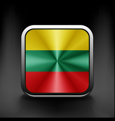 Flag of lithuania as round glossy icon button vector
