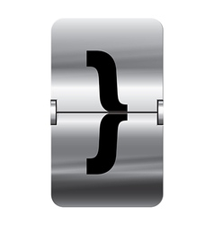Alphabet silver flipboard letters curly brackets vector