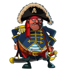 Cartoon pirate in a cocked hat and jacket vector
