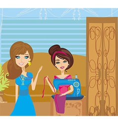 Girl with sewing machine and elegant client vector