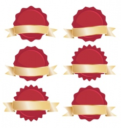 Red seals with gold banners vector