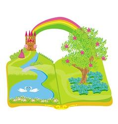 Open book - beautiful princess in the garden vector