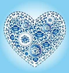 Heart made of blue flowers romantic cartoon vector