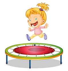 A girl playing trampoline vector