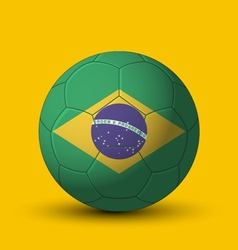 Brazil flag on soccer ball on yellow background vector