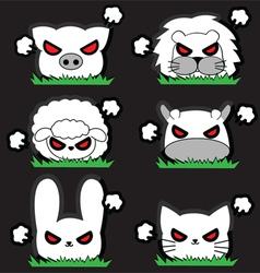 Angry little animal set vector