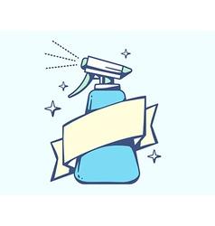 Blue spray pistol with ribbon on light ba vector