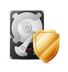 Opened hard drive disk with shield vector